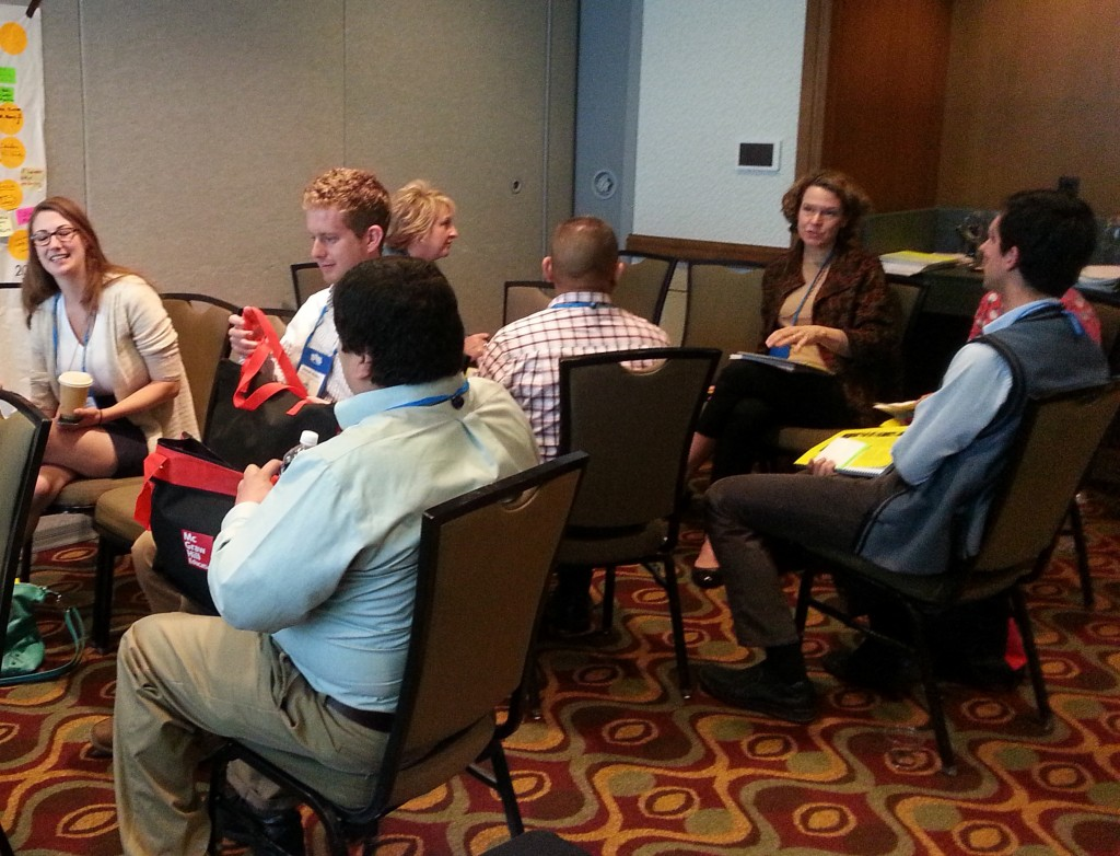"""Participants share ideas on how to position immigrants as assets in their communities during the workshop """"Immigrants: Who They Are and What They Contribute"""" at the COABE 2015 conference on April 23, 2015."""